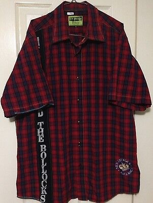 Sex Pistols Shirt XL Dragonfly Button Front Guitar Hero 2004 Plaid
