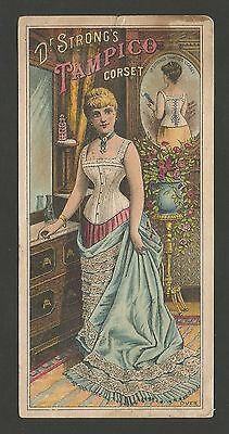 "Victorian Trade Card ""Dr. Strongs Tampico Corset.""  Late 1800's."