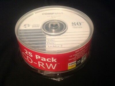 Re-writeable CDs - COMPUSA- CD-RW  Pack of 25    Brand New 4X 700MB 80 min