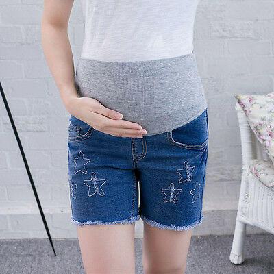 Pop Maternity Shorts Star Print Pregnant Women Belly Care Splicing Denim Panties