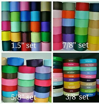 "wholesale 34 yards each - 3/8"",5/8"",7/8"",1.5"" grosgrain ribbon lot solid hairbow"