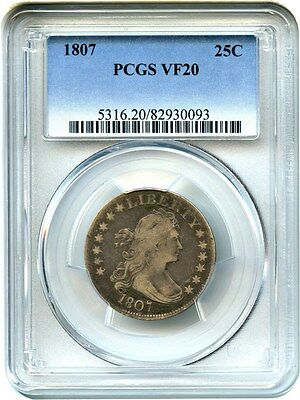 1807 25c PCGS VF20 - Early Bust Type Coin - Bust Quarter - Early Bust Type Coin