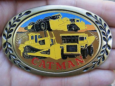 Vtg CATERPILLAR Belt Buckle CAT MAN Tractor Brass RARE VG++