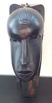 """Vintage African Ebonised Wood Hand-Carved Bust Head Sculpture Wall Ornament 9"""""""