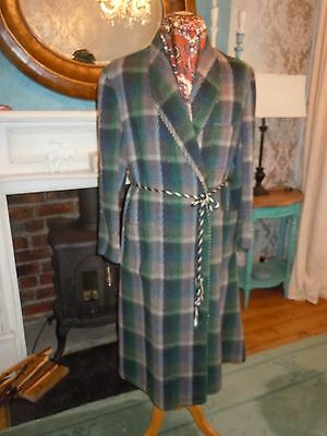 VINTAGE 1950's WOOL DRESSING GOWN HOUSE ROBE SMOKING JACKET Large FREEPOST