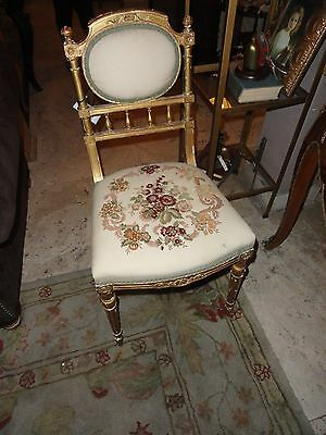 Charming Antique French Dressing Chair Embroidered