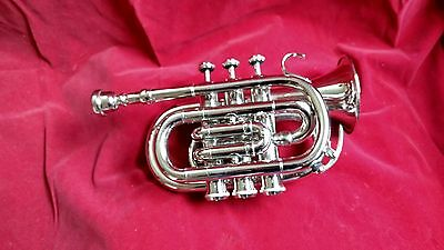 Trumpet Pocket Size Made Of Pure Brass Silver Polish With Free Case & Mouthpiece