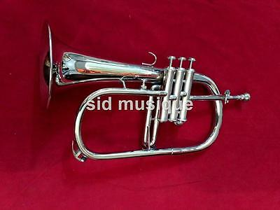 Flugel Horn Made Of Pure Brass With 3 Valve Pure Brass Made  Free Case & Mouthpc