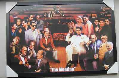 "MEETING POSTER IN FRAME ""SCARFACE, THE GODFATHER, THE SOPRANOS"" Ready to Hang"