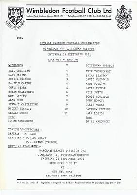 Wimbledon Reserves v Tottenham Hotspur Reserves Football Programme 1991/92