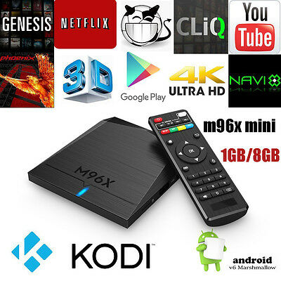M96x Smart Android 6.0 OTT TV Box Quad Core Mini PC 4K Media Streaming Player HD