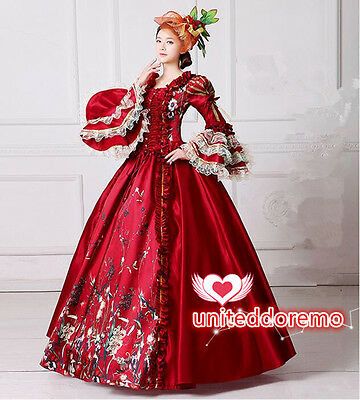 Victorian Medieval Renaissance Costume Red Dress Theater Ball Gown Women