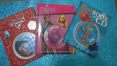Children's Picture Story Books with CD X5- DISNEY PIXAR - TANGLED, CARS, NEMO+