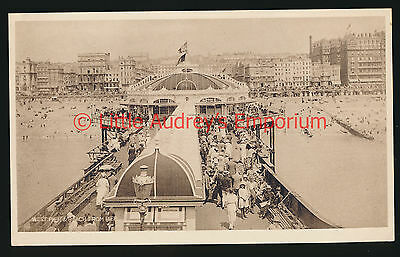 Old Postcard West Pier & Beach from Pier Brighton Unposted c1910 RP AM018