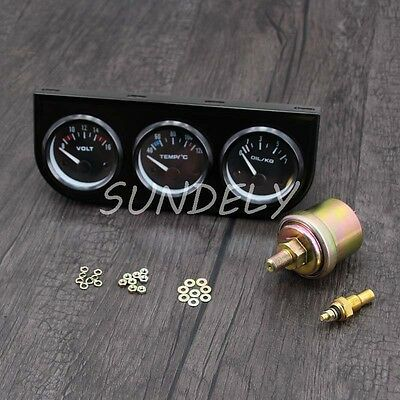 "12V 2""/52mm Triple Gauge Kit 3in1 Oil Temp Water Temp Oil Pressure Car Meter AU"