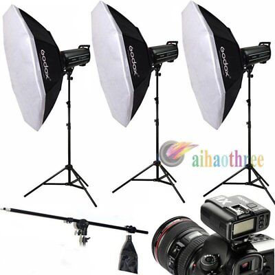 3Pcs Godox QT600IIM 600W HSS 1/8000s High Speed Flash Trigger +140cm Softbox【AU】