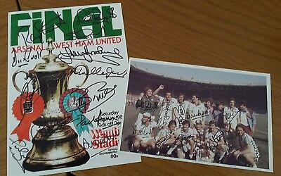 Signed 1980 FA Cup Final Programme Cover 7x5 PHOTO - West Ham vs Arsenal