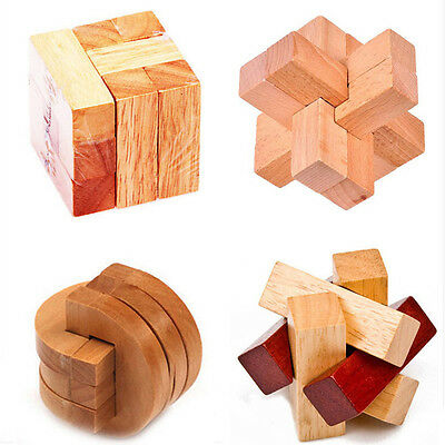 Wooden 3D Cube Twist Brain Teasers Pluzzles Toys Mind Puzzles  Rubic Cube Gift
