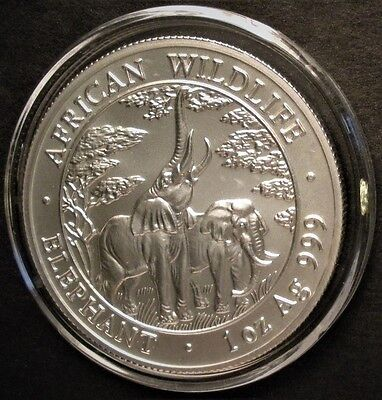 2003 Silver Zambia African Wildlife Elephant 1 oz .999 Silver 5000 Kwacha Coin