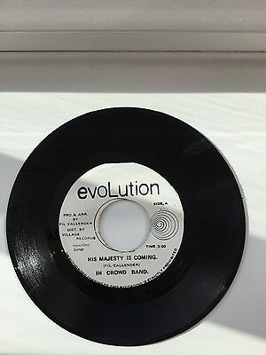 """In Crowd Band-His Majesty Is Coming, 7"""" vinyl reggae record (Evolution label)"""