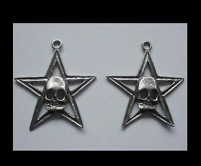 PEWTER CHARM #252 x 2 STAR with SKULL (30mm x 33mm)