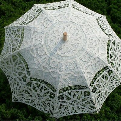 Vintage Ivory Lace Cotton Embroidery Wedding Parasol Umbrella Bridal Accessory