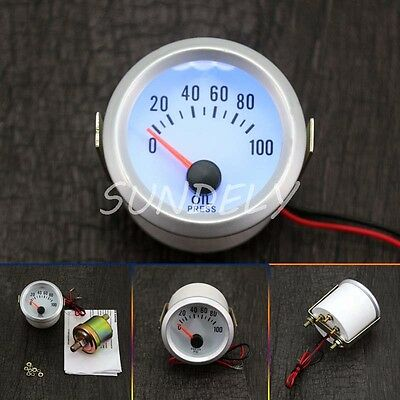 52mm 2'' White Blue LED Electrical Oil Pressure Gauge Meter 0-100PSI Car Auto AU