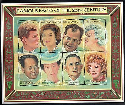 GAMBIA MNH 1996 FAMOUS FACES FULL SHEET OF 8 - KENNEDY, M MONROE, DeGAULLE, MAO