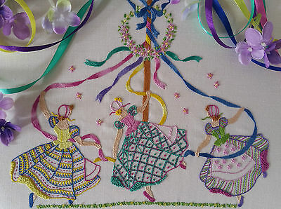 Transfered Embroidery Kit: May Day : Beautiful Kits By Maggie Gee