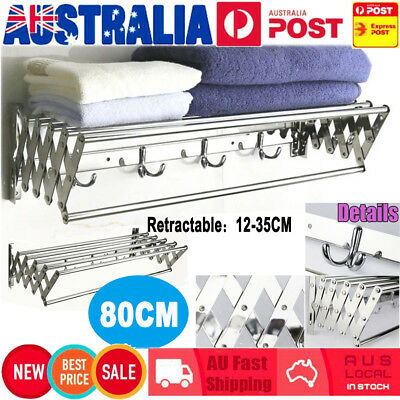80CM Wall Mounted Stainless Steel Clothes Airer Caravan Laundry Drying Rack Home