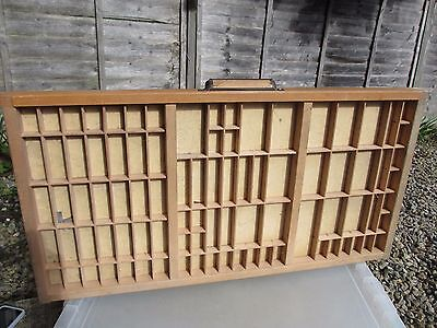 Vintage Wooden Printers Drawer Tray Wall Display Rack Letterpress Old Pine