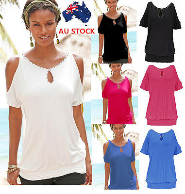 Women Off shoulder Short Sleeve Loose Casual Tops Blouse T-Shirts Plus size 6-20
