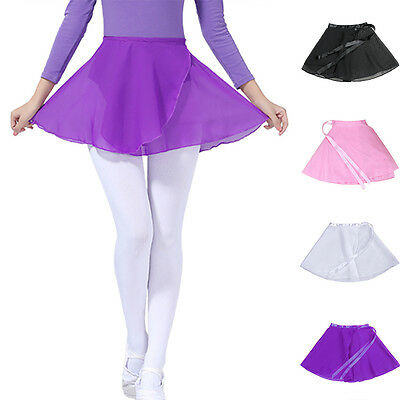 Adult Women Girl Kids Chiffon Ballet Leotard Tutu Wrap Scarf Dance Skirt Dress