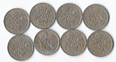 8 Elizabeth II sixpence coins for consecutive years 1960 to 1967- UK Post free
