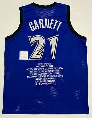KEVIN GARNETT AUTOGRAPHED TIMBERWOLVES STAT JERSEY with PSA ITP COA #8A31254