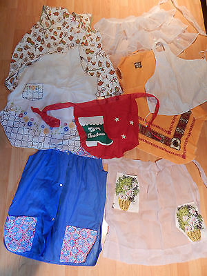 Vintage Ladies Aprons Lot Of 8 - Half, Full, Smock, Childs Christmas Embroidered