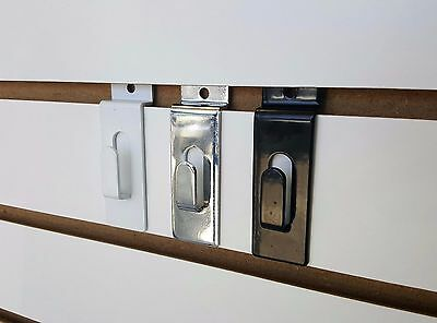 Slatwall Notch Utility Picture Hook | Black White Or Chrome | 10,20,25,50 or 100