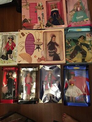 Barbie Lot 9 Collectible Silken Flame, Ken The Scarecrow, Rapunzel, Busy Gal