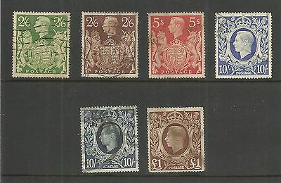 1939-48 KING GEORGE VI  HIGH VALUES SET OF 6 USED  SG476/478c REF 1158