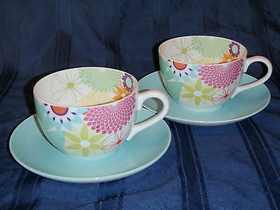 Portmeirion Crazy Daisy Large Breakfast Cups and Saucers - 2 sets