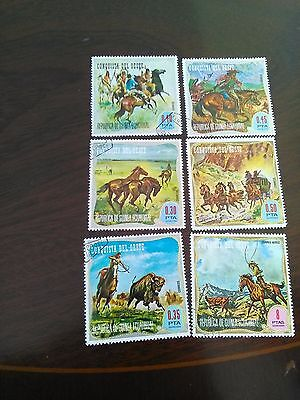 6 stamps of rep de guinea equtorial used of westerns