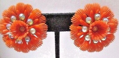 Midcentury 1960's Soft Plastic Flowers Ab Rhinestone Orange Clip On Earrings
