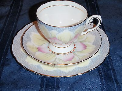 "Tuscan Art Deco "" Flower Petal"" Teacup Trio - Stunning"