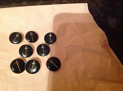 Eight Small Gieves And Hawkes Black And Gold Metal Buttons Measuring 14 Mm