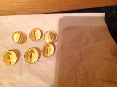 Gieves & Hawkes Set Of 12Gold Coloured Blazer Buttons 6@20mm, 6@ 14