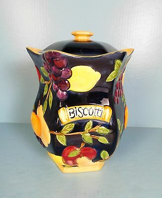 Biscotti Cookie Octagon Jar Hand Painted Raised Fruits On Navy