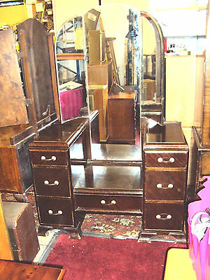 Vintage Antique Art Deco Dressing Table with Long Triple Mirror