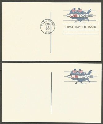 2-1964 Customs 175 Years Of Service 4C Postal Cards 1-First Day Of Issue