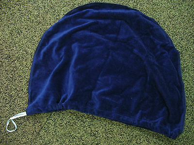 SOFT PLUSH MOTORCYCLE CRASH HELMET BAG VELOUR BLUE - DRAWSTRING - 47 x 34 cm NEW