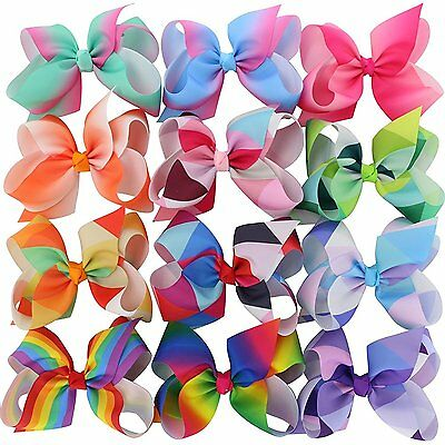 Chiffon Larger Grosgrain Ribbon Boutique Rainbows Hair Bows Clips For Baby Girls